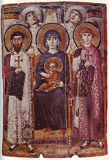 Icon of the enthroned Virgin and Child with saints George, Theodore and angels, 6th century, Saint Catherine's Monastery, Mount Sinai.
