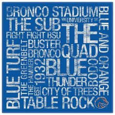 Featured Art - Boise State College Colors Subway Art by Replay Photos Boise State Football, Boise State University, State College, College Wall Art, Colleges In Florida, Subway Art, Subway Signs, Fine Art America, Replay