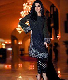 Black Faux Georgette Pant Style Salwar Kameez 72819