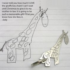 Your child's drawing can be transformed into jewelry: keychains, necklaces, etc. Great gift idea for the future! ♥
