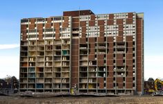 20150125. A view of many rooms in the 4th Dickinson modernist high-rise demolition in Toronto's Regent Park.