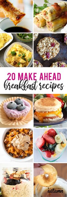 20 make ahead breakfast recipes - great ideas for busy school mornings! Easy freezer friendly breakfast meal prep recipes that you can make in advance. Back to school breakfast ideas.