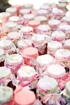burlap/lace/twine cute favor idea for a vintage inspired baby shower.  fill jars with something special (cookies, chocolate, bath salts) and cover with vintage fabric and tie with ribbon.