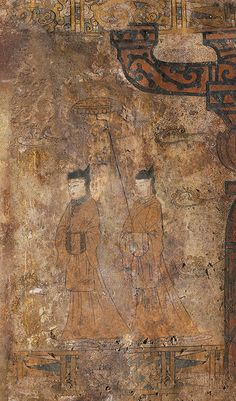 Goguryeo Tomb Mural (5th century) Susan-ri 수산리 벽화고분 Chinese Design, Chinese Style, Korean Painting, Chinese Architecture, Ancient China, Figure Painting, Asian Art, Buddhism, Fresco