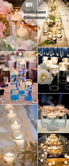 candle vases lighting diy wedding centerpieces Great decor. Adding it to our wedding centerpiece ideas board! ( goldene äste und Blätter )
