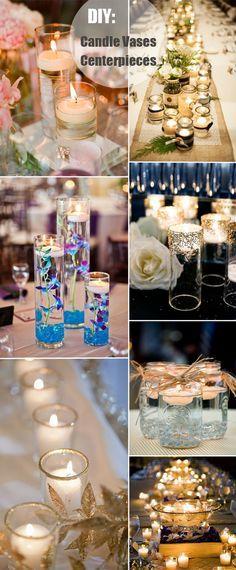 candle vases lighting diy wedding centerpieces Great decor. Adding it to our wedding centerpiece ideas board! ( goldene äste und Blätter )