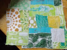 Gelli Paper- fabric - While she used a selection of different sorts of papers, I limited myself to scraps of Gelli prints, lots of them samples of techniques I shared, or other experiments.  I also kept to a limited colour palette.  I love how it turned out.