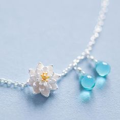 Lotus water droplets necklace