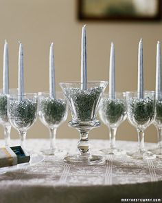 Easy Menorah out of Wine/sherry glasses and then use normally again. Brilliant.