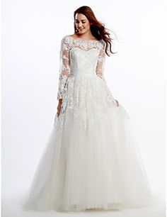 Lanting+Bride®+A-line+Wedding+Dress+Court+Train+Scoop+Lace+/+Tulle+with+Lace+/+Appliques+–+USD+$+199.99