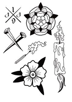 Easy Tattoos, Retro Tattoos, Cute Tattoos, Leg Tattoos, Tattos, Traditional Tattoo Flash Art, Traditional Flash, Stick Poke Tattoo, Homemade Tattoos