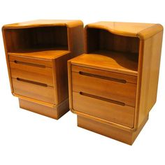 Pair of Danish Modern Tall Teak Nightstands with Writing Desk | From a unique collection of antique and modern bedroom furniture at https://www.1stdibs.com/furniture/more-furniture-collectibles/bedroom-furniture/