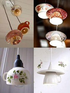 Home, sweet, tasse, cup, cup of tea, tea, flowers, lampe, applique, abat-jour, suspension, light, old, mommy, grand-mother,