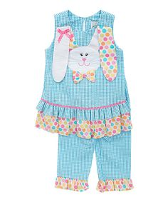 Look at this #zulilyfind! Turquoise Bunny Tunic & Leggings - Infant, Toddler & Girls by Rare Editions #zulilyfinds