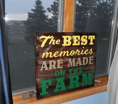 "Torched Wood Sign • Best memories are made on the Farm repurposed wood sign • This sign measures approximately 13""x13""... Background has been torched for a rustic look!  Yellow, khaki & green letters"