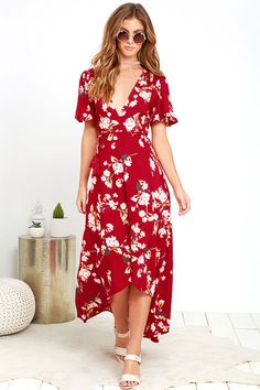 The Flora Belle Wine Red Floral Print High-Low Wrap Dress is a true beauty with its cream, yellow, teal, and blush pink floral print and wrapping design. Long Floral Maxi Dress, Cute Floral Dresses, Club Dresses, Day Dresses, Wine Red Dress, Online Dress Shopping, Short Sleeve Dresses, Short Sleeves, Wrap Dress