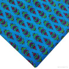 Printed Soft Cotton Fabric by Yard - Turquoise Blue Cotton Buy Online – DesiCrafts