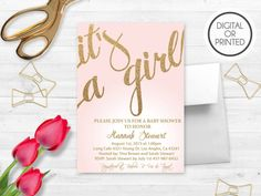 Pink and Gold Baby Shower Invitations Baby by GreatOwlCreations