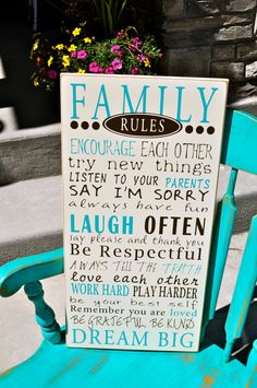 Family Rules wood sign on Etsy, $50.00