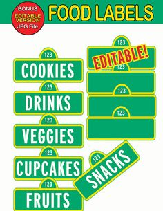 Sesame Street Food Labels Food Tags Signs  by PartySuperhero, $4.00