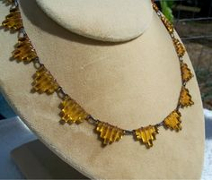 Art Deco Amber Step Glass Necklace Open Back GF Setting Vintage Antique by Oldtreasuretrunk on Etsy