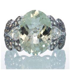 14 Karat White Gold Green Amethyst Green Sapphire Cocktail Vintage Design Unique Right Hand Gemstone Ring