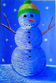 4th grade - value snowman - oil pastel