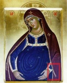 One of the rare icons of the Theotokos. the Virgin Mary with baby Jesus in the womb Name iconographer, unfortunately, is not known.
