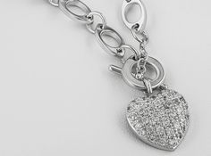 Bella Luce 1.84ctw Rhodium Plated Sterling Silver Heart Necklace