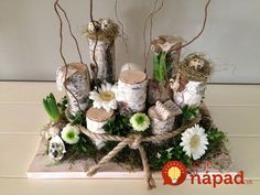 Ideas and Inspirations: DIY: Ostern für unterwegs * Easter for take away Christmas Window Decorations, Christmas Centerpieces, Holiday Decor, Spring Decorations, Easter Flower Arrangements, Easter Flowers, Deco Floral, Arte Floral, Flower Installation