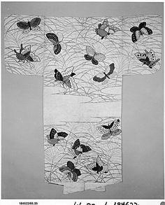 Noh robe (Nuihaku) with Design of Butterflies and Miscanthus Grass in Mist | Japan | Edo period (1615–1868) | The Met