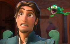 Take Two: Flynn (Zachary Levi) and the Chameleon Pascal React Comedically in 'Tangled'