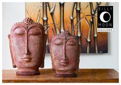 Buddha Head. Terracotta from Bali. Multi-layered paint finish. Wood base. Cast solid alpaca decorative detailing. A1161A A1161B