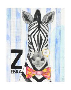 ZZebra print of my mixed media animals by katiecrawfordart on Etsy