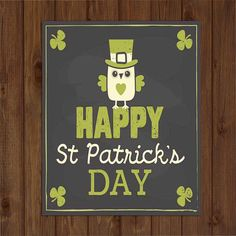 Owl Happy St. Patrick's Day Sign Wall by BlendedCreationsInc