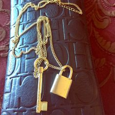 Victoria secret lock and key long chain Beautiful lock and key gold necklace with lock and key Victoria's Secret Jewelry Necklaces