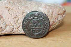 Coin of imperial Russia. Denga. 1737. Antique Russian Coin