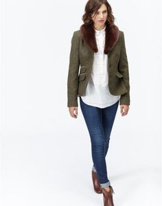 CRESSIDAFur Collar Tweed Blazer