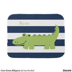 Cute Green Alligator Baby Burp Cloth