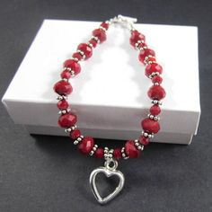 Ruby red crystal pewter bead bracelet open heart charm Valentines Day | Thesingingbeader - Jewelry on ArtFire