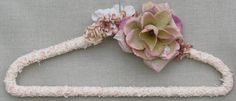 Shabby Chic Wedding dress hanger ON SALE pink custom ivory by poshweddingday, One of more than thirty one-of-a-kind designs on sale.