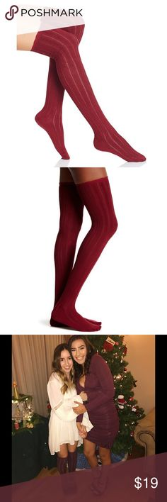 BNWT Free People All For One Over-The-Knee Socks Brand new with tag & authentic.    ⭕️️Reasonable offers 🚫Trades/PayPal ✔️Bundle to save  Super soft over-the-knee socks featuring tonal texturing and ruffle trim.   76% Rayon from Bamboo 22% Polyester 2% Spandex Machine Wash Cold Free People Accessories Hosiery & Socks
