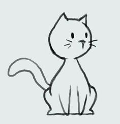 learn how to draw cartoon cute kitty cat step - kitten cartoon drawing Cartoon Cartoon, Kitten Cartoon, Cartoon Images, Simple Cat Drawing, Cute Cat Drawing, Drawing Ideas, Cat Cartoon Drawing, Kitty Drawing, Drawing Step