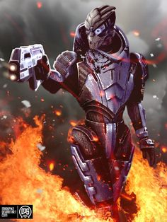 This Turian is on fire.