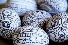 craft, decorating ideas, doodles, egg decorating, white, easter eggs, design, black, easter ideas