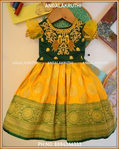Angalakruthi-Custom designer boutique in Bangalore We. Kids Dress Wear, Kids Gown, Little Girl Dresses, Baby Dresses, Baby Lehenga, Kids Lehenga, Baby Dress Design, Baby Girl Dress Patterns, Kids Blouse Designs