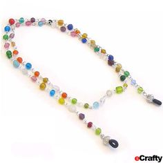 DIY Eye Glass Chains in under 1 minute! with our gorgeous Beaded Glass Chain by the Yard, & a pair of our eye glass connectors ~ http://www.ecrafty.com/p-3610-beaded-chain-by-the-yard-silver-plated-rainbow-multi-b.aspx @ecrafty #ecrafty www.eCrafty.com