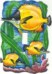Decorative tropical fish design switchplates are handcrafted from steel drums and beautifully hand painted. Perfect addition to your tropical home decor. Created from recycled steel drums in Haiti. Tropical Home Decor, Tropical Design, Tropical Decor, Tropical Fish, Decorative Light Switch Covers, Switch Plate Covers, Light Switch Plates, Painted Metal, Hand Painted