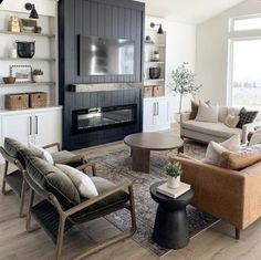 Home Fireplace, Living Room With Fireplace, Fireplace Design, New Living Room, Home And Living, Living Room Decor, Living Spaces, Furniture Around Fireplace, Fireplaces