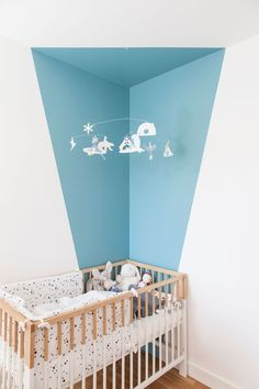 Strong colors in Paris – PLANETE DECO a homes world Related posts:Baby Clothes labels free printablesRustic Baby Girl Nursery - Jenny Weg room ideasbaby boy room deco, gray knitted stool, white shelf, baby bed, . Baby Bedroom, Nursery Room, Boy Room, Nursery Decor, Room Decor, Nursery Ideas, Room Ideas, Kids Bedroom Paint, White Nursery